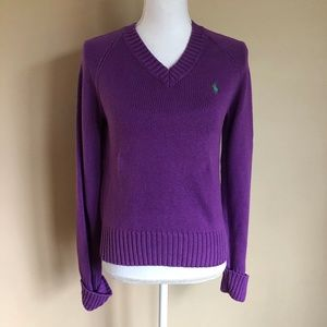 Ralph Lauren | Purple V-Neck Sweater  L